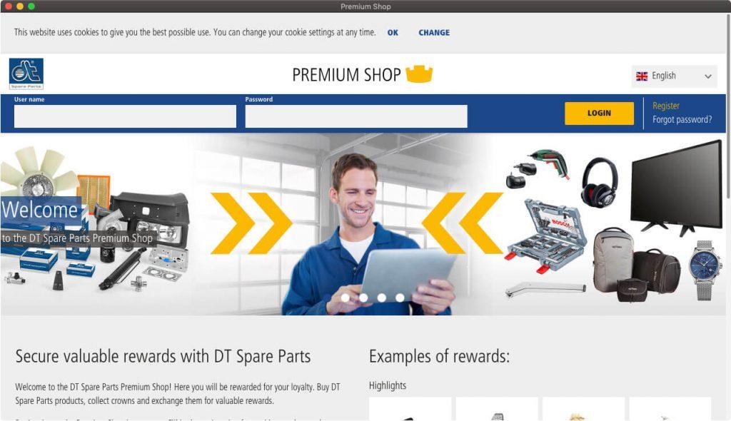 Página inicial do programa de fidelidade Premium Shop