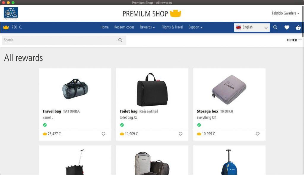 Página com os produtos disponíveis e as quantidades de coroas necessárias para troca